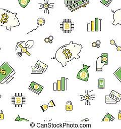 plat, moderne, bitcoin, modèle, seamless, vecteur, conception, ligne mince