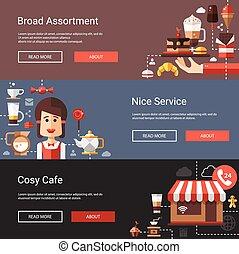 plat, moderne, café-boutique, conception, illustrations, café