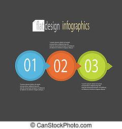 plat, moderne, conception, infographics