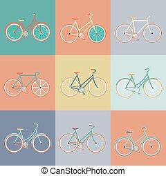 plat, moderne, fiets, retro, illustratie
