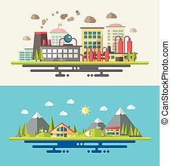 plat, moderne, illustratie, ecologisch, ontwerp, conceptueel