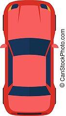 plat, moderne, illustration, vecteur, voiture., rouges