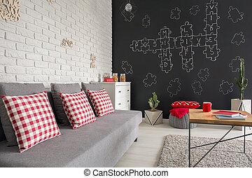 plat, moderne, sofa