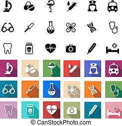 plat, monde médical, coloré, noir, icônes