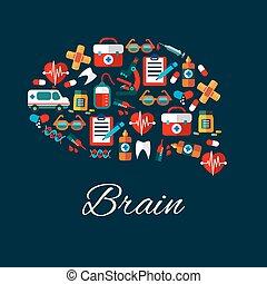 plat, monde médical, healthcare, cerveau, icônes
