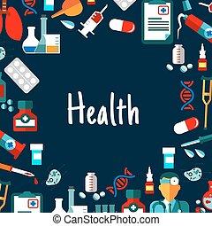 plat, monde médical, healthcare, fond, icônes