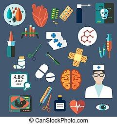 plat, monde médical, healthcare, icônes