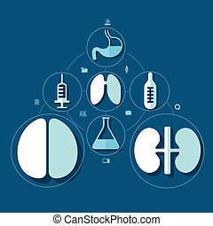 plat, monde médical, infographic