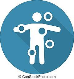 plat, monde médical, long, contrôleur, services, icon., shadow., symptôme, design.