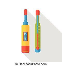 plat, monde médical, thermomètre, icône