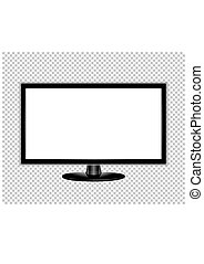 plat, moniteur, écran tv, illustration, réaliste, lcd, vecteur