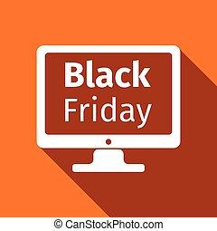 plat, moniteur, écran, vendredi, vente, long, vecteur, noir, illustration, shadow., icône