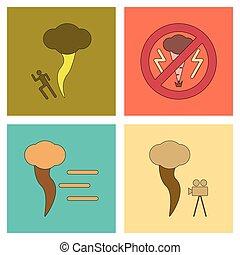 plat, montage, désastre, icônes, tornade, nature