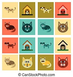 plat, montage, icônes, chien, chats, animaux familiers