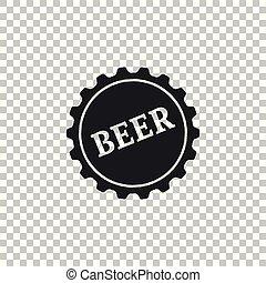 plat, mot, casquette, isolé, illustration, arrière-plan., bière, vecteur, bouteille, icône, transparent, design.