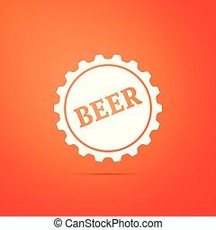 plat, mot, casquette, isolé, illustration, arrière-plan., bière, vecteur, bouteille, orange, icône, design.