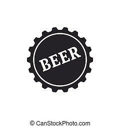 plat, mot, isolated., casquette, illustration, bière, vecteur, bouteille, icône, design.