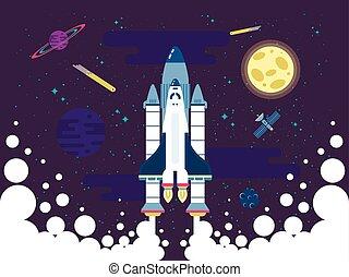 plat, mouches, extérieur, fusée, espace, style, illustration