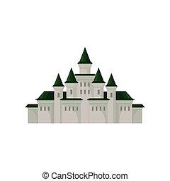 plat, moyen-âge, palais, tours, grand, royal, roofs., mobile, jeu, vecteur, vert, élément, conique, castle.