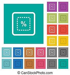 plat, multi, échelle, coloré, icônes, objet, cent, carrée