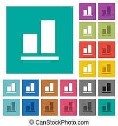 plat, multi, carrée, coloré, fond, aligner, icônes