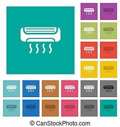plat, multi, carrée, coloré, icônes, climatiseur