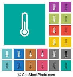 plat, multi, carrée, coloré, icônes, thermomètre