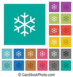 plat, multi, carrée, coloré, icônes, unique, flocon de neige