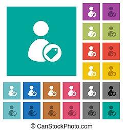 plat, multi, carrée, coloré, icônes, utilisateur, étiquetage