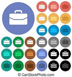 plat, multi coloré, icônes, cartable, rond