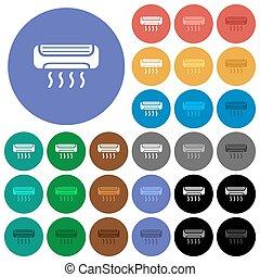 plat, multi coloré, icônes, climatiseur, rond