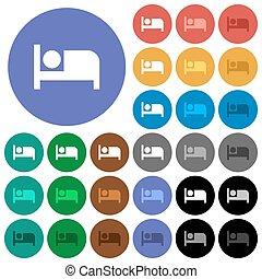 plat, multi coloré, icônes, hôtel, rond