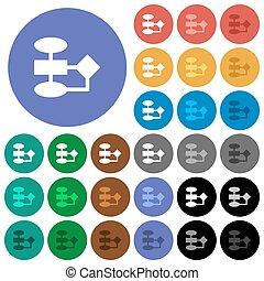 plat, multi coloré, icônes, organigramme, rond