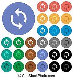 plat, multi coloré, icônes, rond, boucle