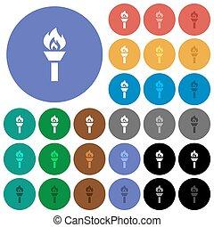 plat, multi coloré, icônes, torche, rond