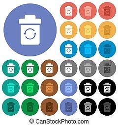 plat, multi coloré, icônes, undelete, rond