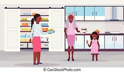 plat, multi, dochter, gezin, afrikaan, generatie, moderne, kind, samen, hebben, grootmoeder, voedingsmiddelen, amerikaan, het bereiden, moeder, interieur, horizontaal, ontbijt, keuken