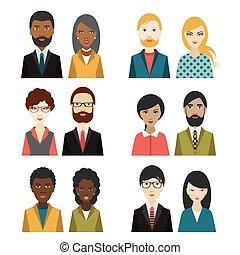 plat, multi, ensemble, illustration., heads., caractère, ...