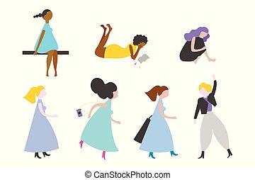 plat, multi, ensemble, vecteur, caractères, ethnique, femmes