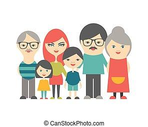 plat, multi, generatie, family., grandparents., ouders, kinderen, design.