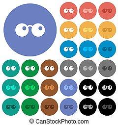 plat, multi, lunettes soleil, coloré, icônes, rond