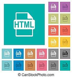 plat, multi, plein, gekleurde, iconen, formaat, html, bestand