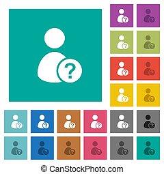 plat, multi, plein, gekleurde, iconen, onbekend, gebruiker