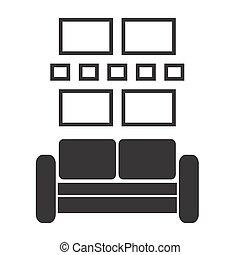 plat, mur, vendange, intérieur, vecteur, conception, retro, sofa, cadres, images
