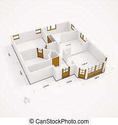 plat, murs, perspective, groundplan, 3d