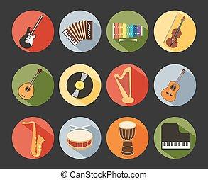 plat, musical, icônes
