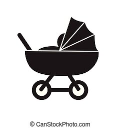 plat, nad, pictogram, eenvoudig, wagen, vector, schattig, baby, black , witte , kinderwagen, pictogram