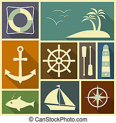 plat, nautisch, iconen