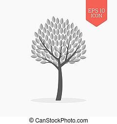 plat, navigation, gris, couleur, signe., moderne, arbre, symbole., conception, toile, ui, icon.