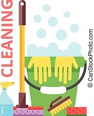 plat, nettoyage, illustration